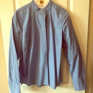 Blue ruffle trim shirt jcrew TALL size 14